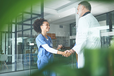 Buy stock photo Cropped shot of an attractive young nurse standing and shaking a doctor's hand in the clinic