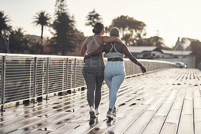 Buy stock photo Rearview shot of two young women out for a workout together