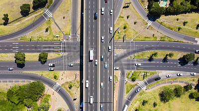 Buy stock photo High angle shot of cars travelling on a freeway