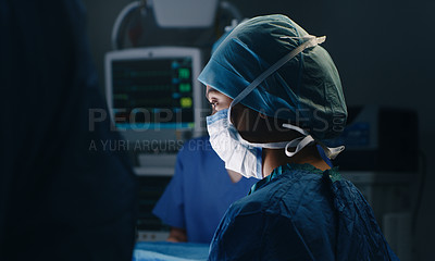 Buy stock photo Portrait of a female medical nurse wearing PPE in theatre