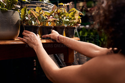 Buy stock photo Shot of an unrecognisable woman working with plants in a garden centre