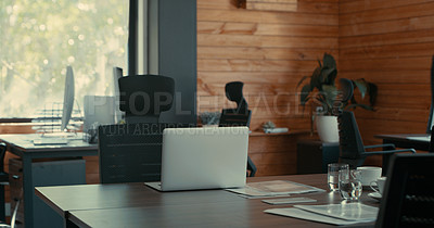 Buy stock photo Shot of an office still life containing a laptop