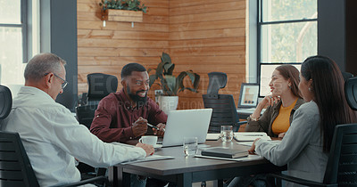 Buy stock photo Shot of a group of coworkers having a business meeting with their manager at their office
