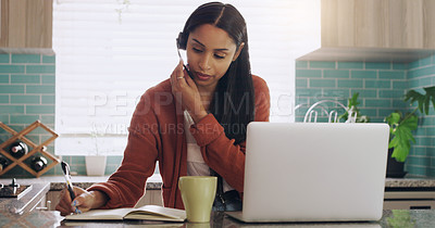 Buy stock photo Shot of a young female teleworker working as a call center agent at home