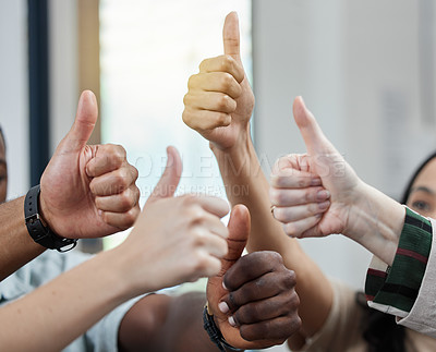 Buy stock photo Closeup shot of a group of unrecognisable businesspeople showing thumbs up
