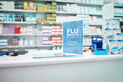 Buy stock photo Cropped shot of shelves stocked with various medicinal products in a pharmacy