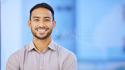 Buy stock photo Portrait of a confident young businessman standing in his office