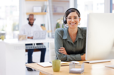 Buy stock photo Shot of a young businesswoman working in call center