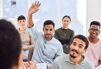 Buy stock photo Shot of a young businessman raising his hand during a presentation in an office