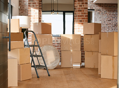 Buy stock photo Shot of boxes in a room at home