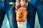 Trick-or-treating together means we get more candy