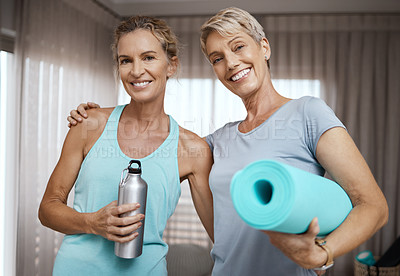 Buy stock photo Portrait of two mature women getting ready for their workout at home