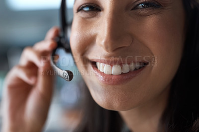 Buy stock photo Portrait of a young woman using a headset in a modern office