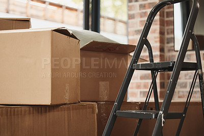 Buy stock photo Shot of a bunch of boxes in a room at home