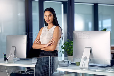 Buy stock photo Shot of a young businesswoman in her office