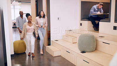 Buy stock photo Full length shot of a diverse group of businesspeople walking into the office together