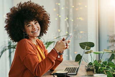 Buy stock photo Shot of a businesswoman enjoying a cup off coffee while working