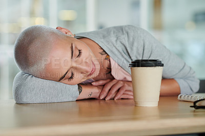 Buy stock photo Cropped shot of an attractive young businesswoman sleeping on the boardroom table