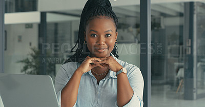 Buy stock photo Portrait of a beautiful young woman in a modern office