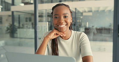 Buy stock photo Portrait of a beautiful young woman sitting happily in a modern office