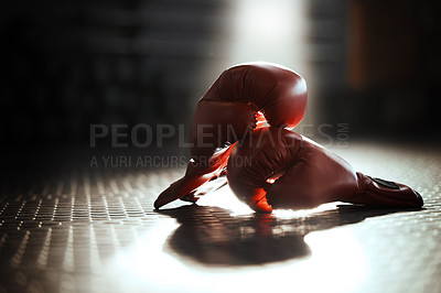 Buy stock photo Shot of boxing gloves ready to be used