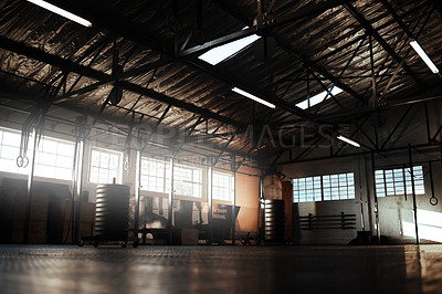 Buy stock photo Shot of an empty gym ready to be used