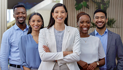 Buy stock photo Portrait of a group of businesspeople enjoying a break outside at the office