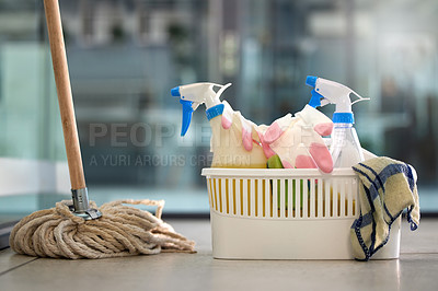 Buy stock photo Shot of cleaning products on the floor at home
