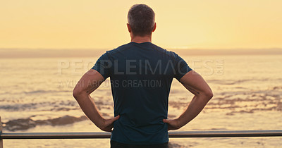 Buy stock photo Rearview of a mature man looking thoughtful while admiring the view along the promenade